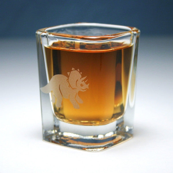 triceratops dinosaur square shot glass