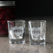 Mom & Dad Tattoo Etched Shot Glasses - 2oz, Square