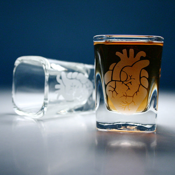 square anatomical heart shot glasses