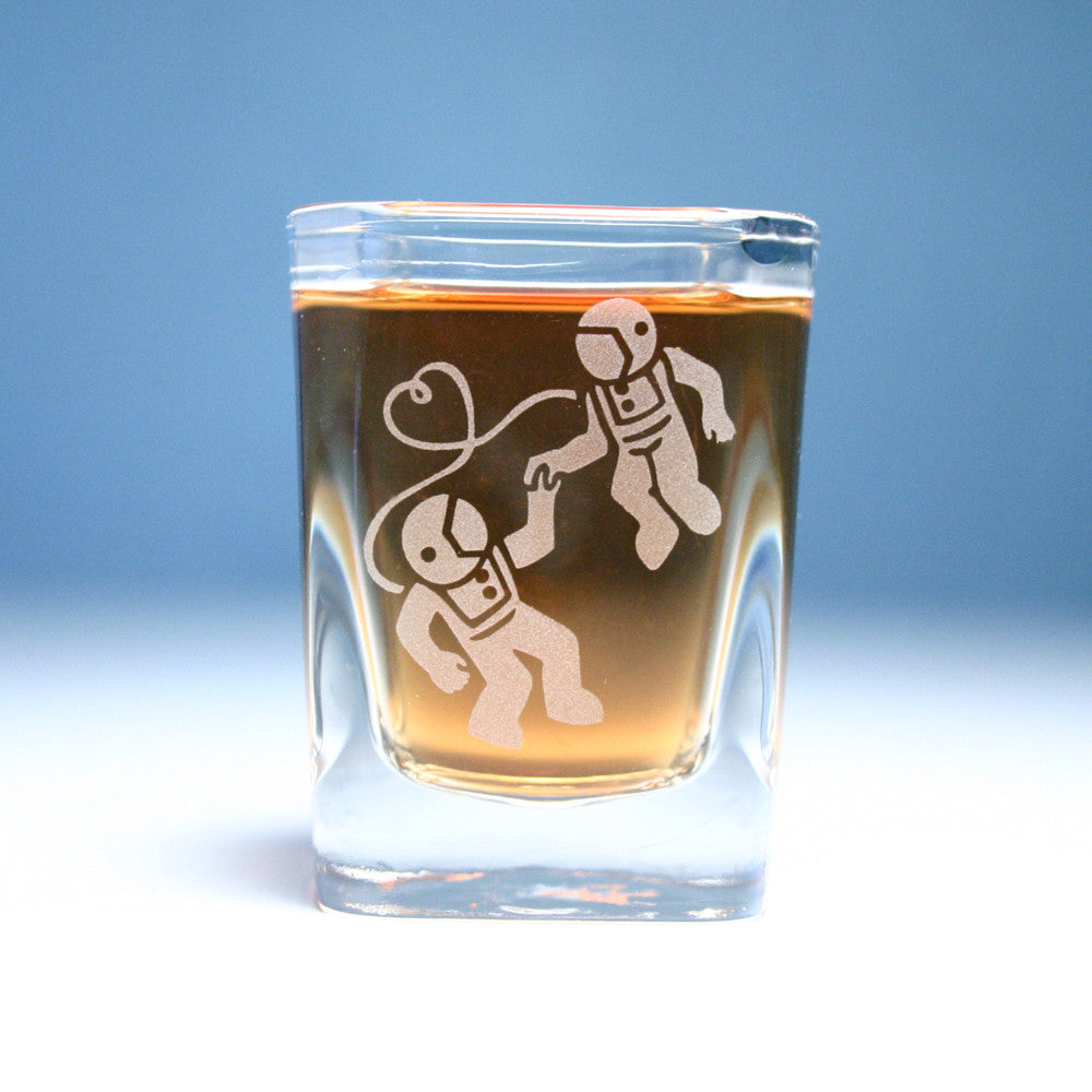 square astronaut shot glass