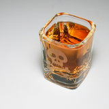 pirate skull etched shot glass