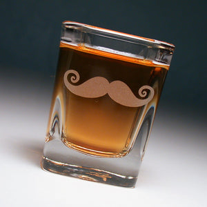 mustache square shot glass