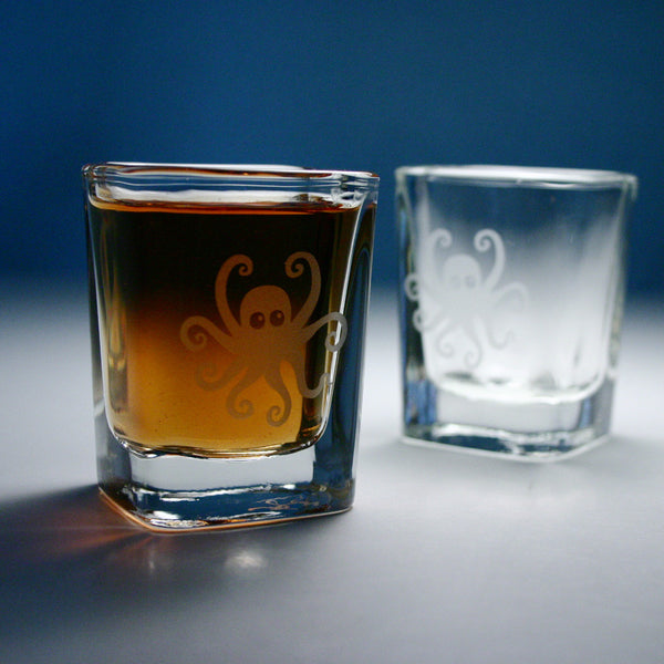 octopus etched shot glasses