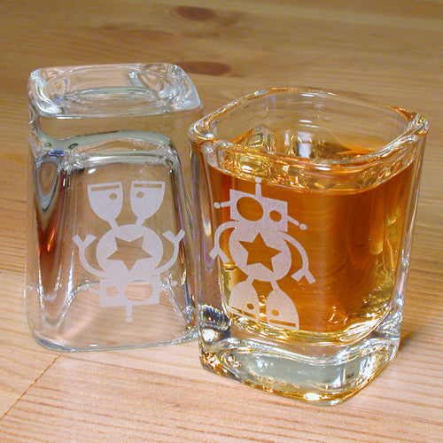 robot square shot glass