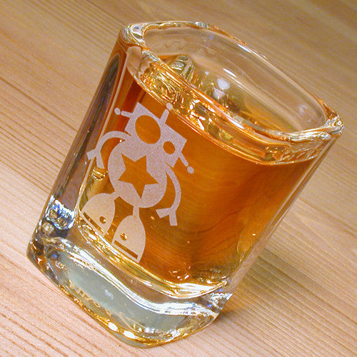 cute robot etched shot glass
