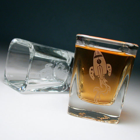 retro rocket spaceship shot glass