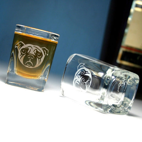 sad pug dog shot glasses