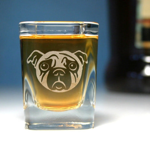 Sad Pug Dog Shot Glass