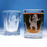 t-rex dinosaur square shot glasses