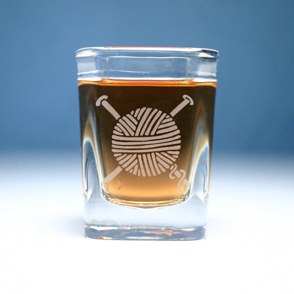 yarn etched shot glass