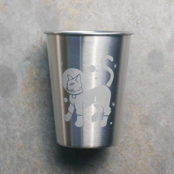 Astronaut Cat 12oz stainless steel cup