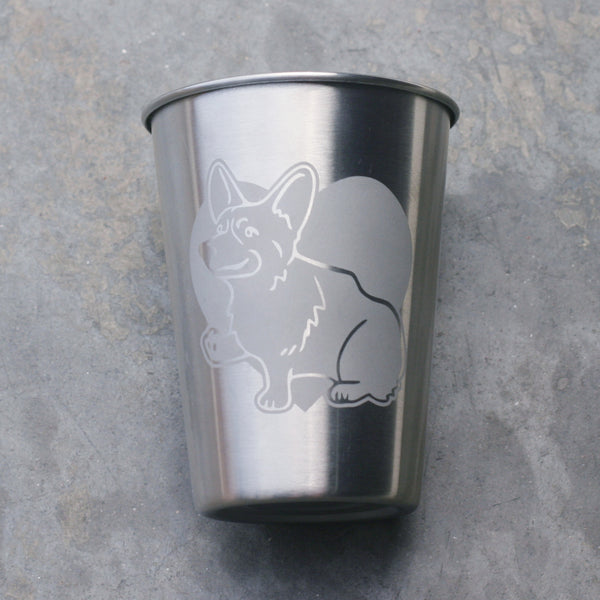 Corgi 12oz stainless steel cup by Bread and Badger