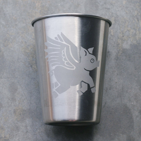 Flying Pig 12oz steel cup by Bread and Badger