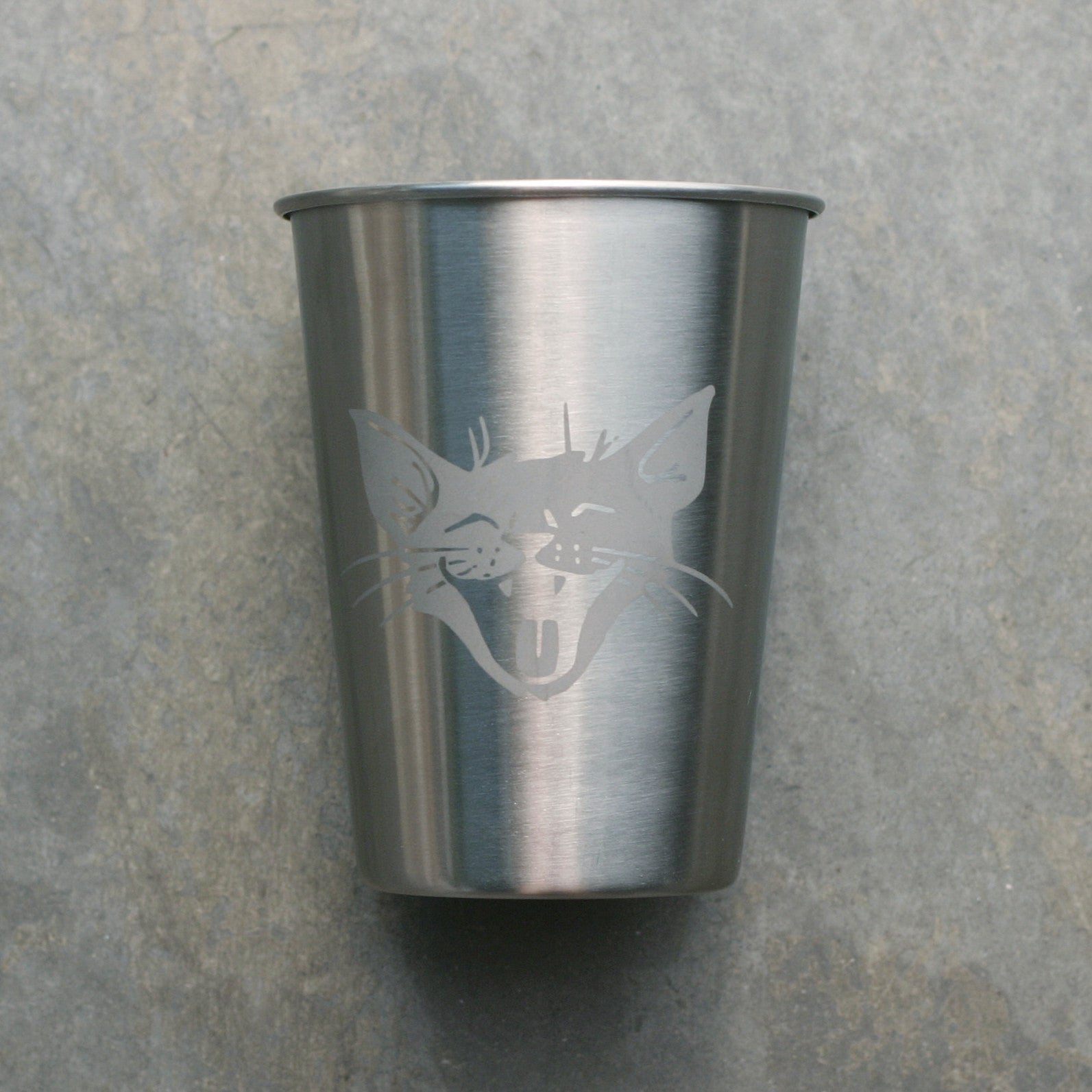 Laughing Cat 12oz stainless steel cup