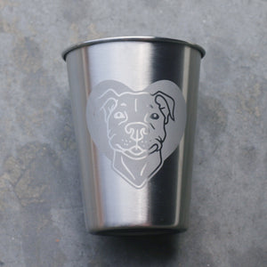 Pit Bull dog 12oz stainless steel cups by Bread and Badger