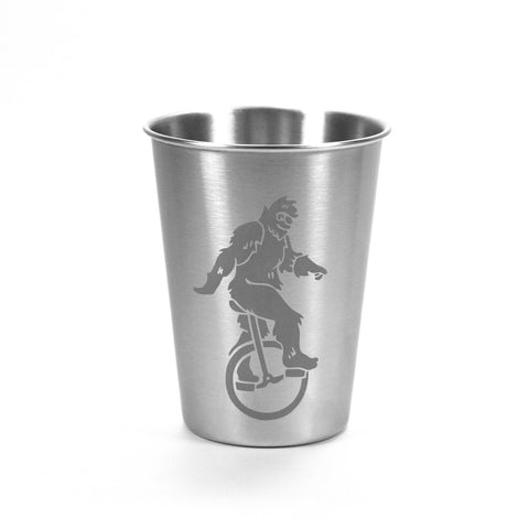 12oz Sasquatch Unicyclist stainless steel cup