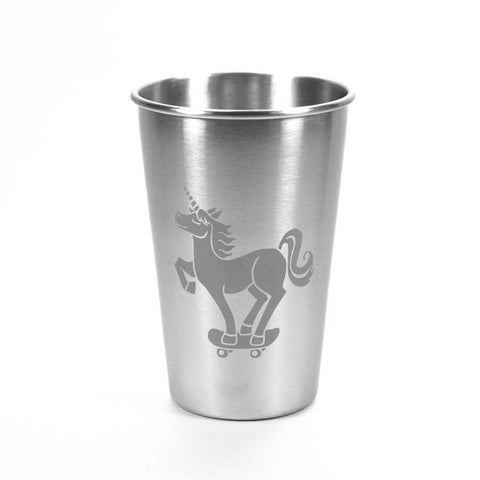 16oz stainless steel unicorn skateboarder tumbler