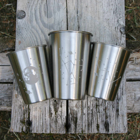 space themed stainless cups by Bread and Badger