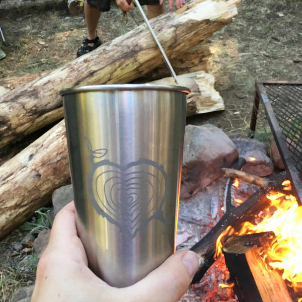 tree stump heart tumbler for camping