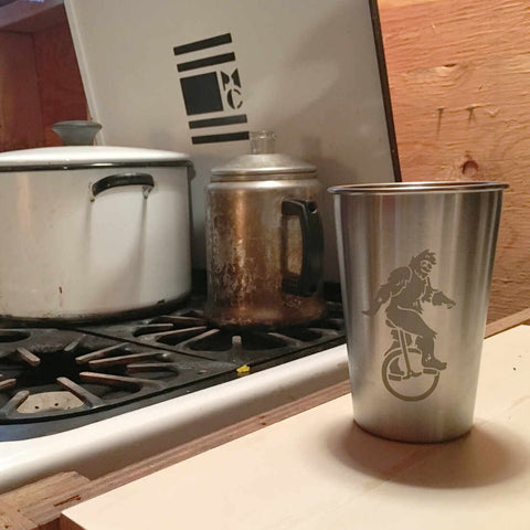 sasquatch bigfoot unicyclist camping cup