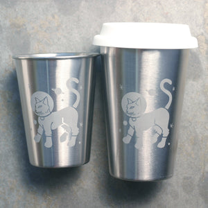 Astronaut Cat stainless steel cups by Bread and Badger