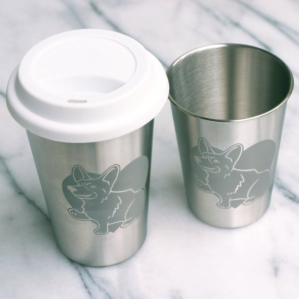 Corgi Dog Stainless Steel Cups by Bread and Badger
