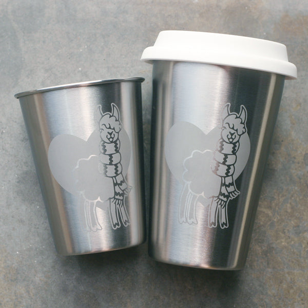 Llama stainless steel cups