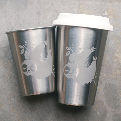 Sloth stainless steel cups by Bread and Badger