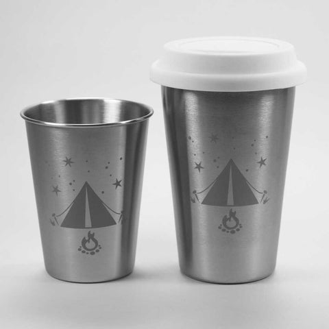 tent stainless tumblers by Bread and Badger