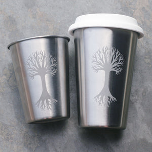 Tree stainless steel cups by Bread and Badger