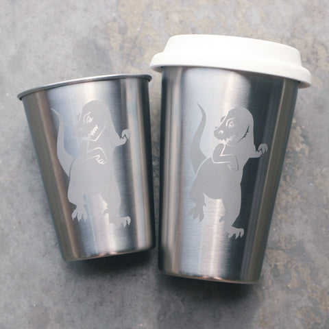T-rex stainless steel cups by Bread and Badger