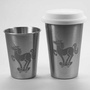 stainless steel unicorn skateboarder cups