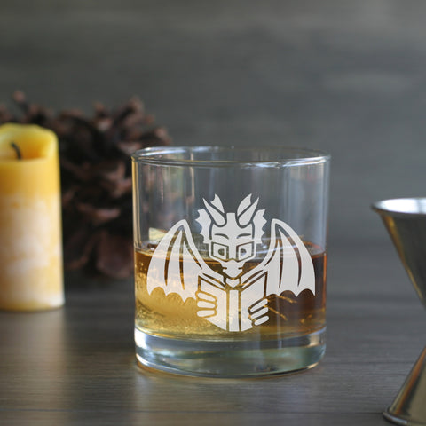 Book Dragon engraved lowball glass