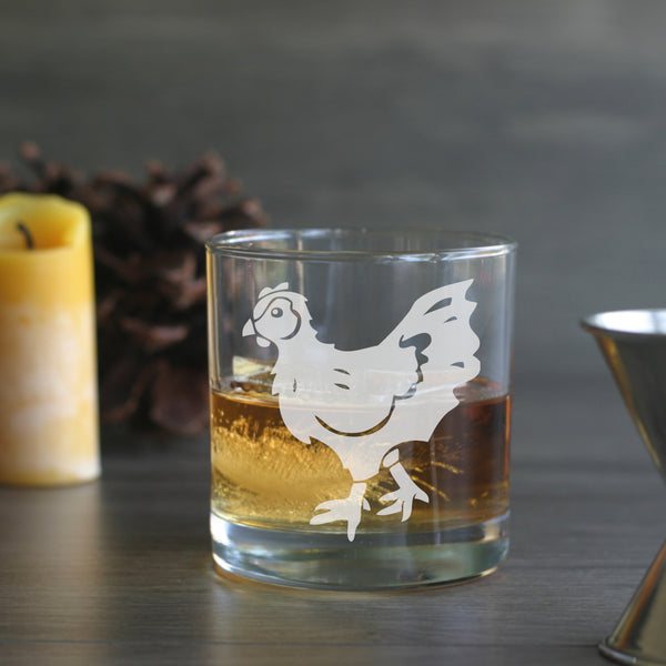 Chicken engraved lowball glass