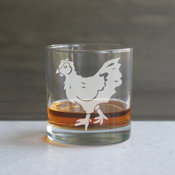 Chicken etched lowball glass