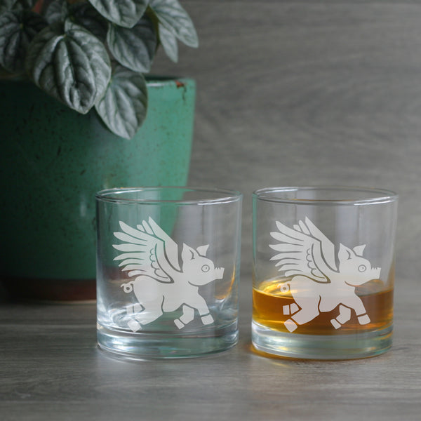 Flying Pig lowball glasses