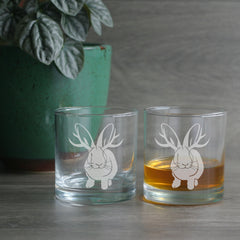 Jackalope etched lowball glasses