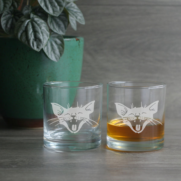 Laughing Cat lowball glasses
