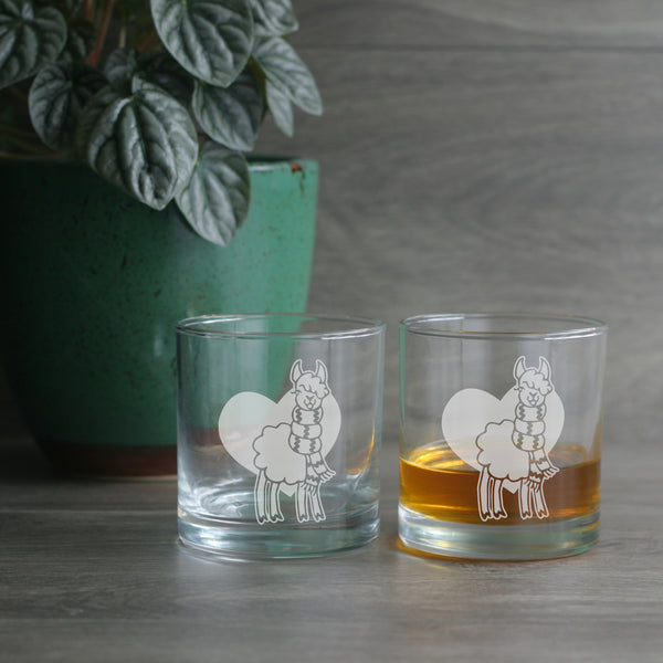 Llama lowball glasses for whiskey