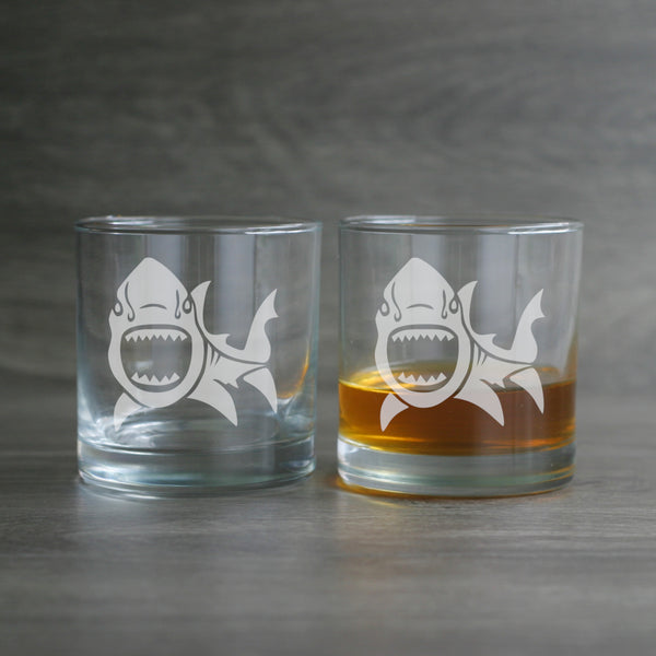 Shark beachy lowball glasses