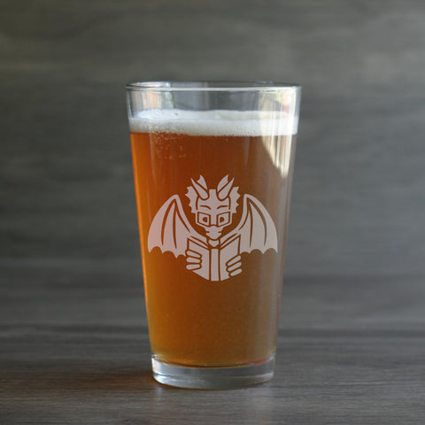Book Dragon pint beer glass