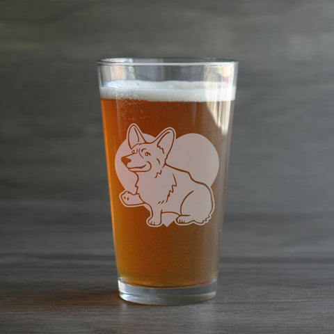 Corgi dog portrait pint beer glasses
