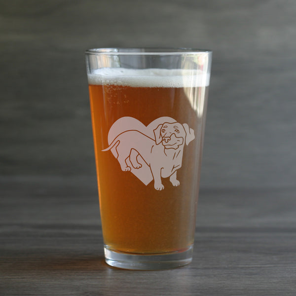 Dachshund dog pint beer glass