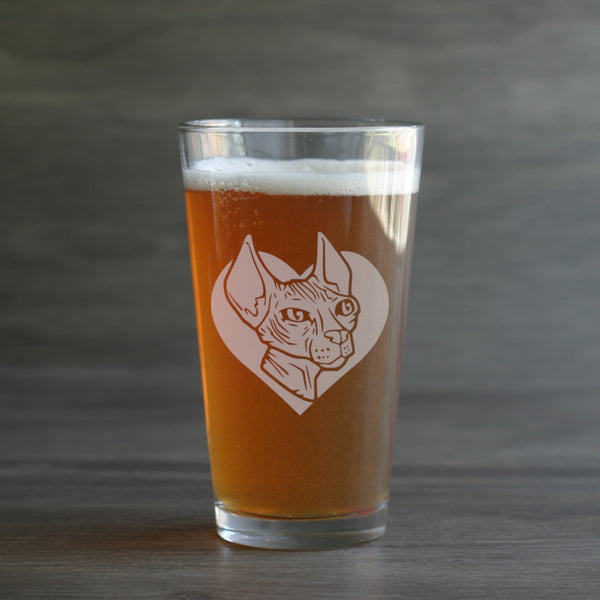Hairless Cat pint glass by Bread and Badger