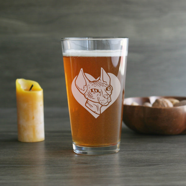 Sphynx Cat pint glass by Bread and Badger