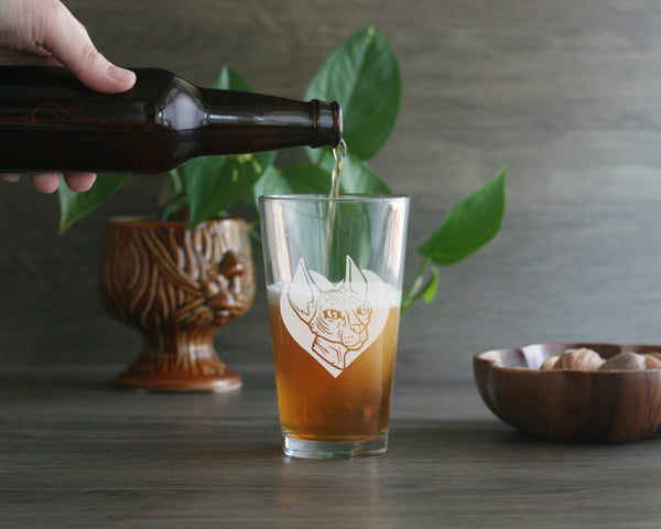 Hairless Cat beer glass by Bread and Badger