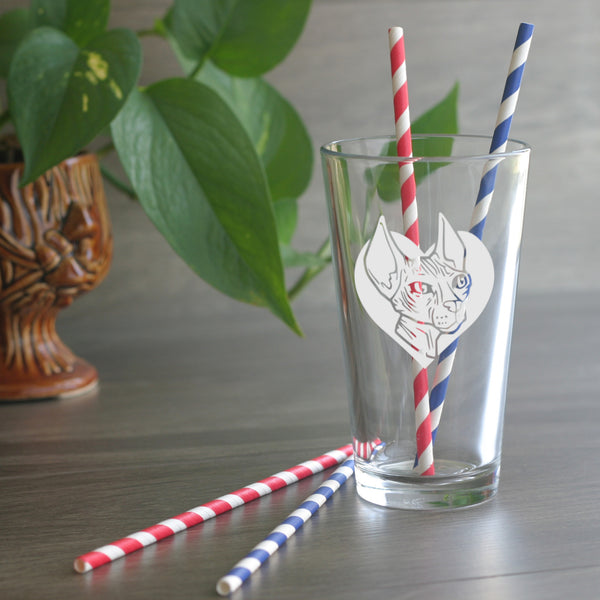 Hairless Cat etched pint glass by Bread and Badger