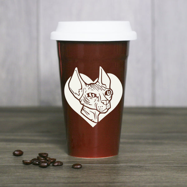 Hairless Sphynx Cat travel mug