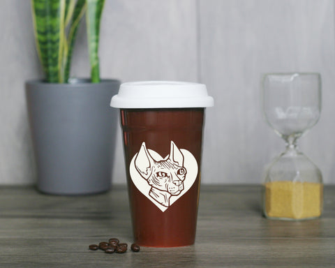 Hairless Sphynx Cat Travel Mug (Retired)