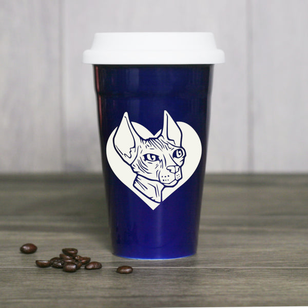 Hairless Sphynx Cat travel mug, navy blue